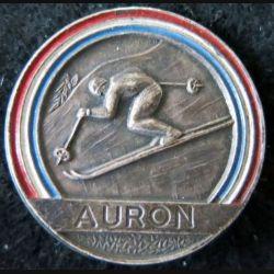 ESF : Médaille de moniteur de l'école du ski français Auron en métal peint