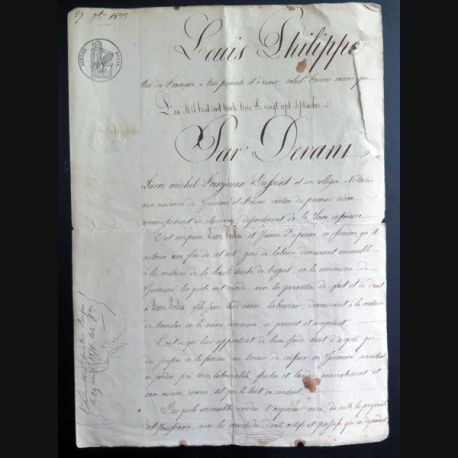 Vieil acte de vente notarié période Louis Philippe 27 septembre 1833
