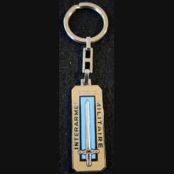 EMIA : porte clefs de l'école militaire interarmes de 6 x 2,1 cm dos argenté