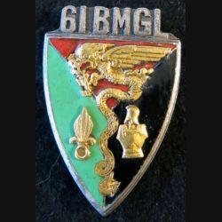 61° BMGL : insigne métallique du 61° bataillon mixte génie légion de fabrication Drago G. 2277 en émail