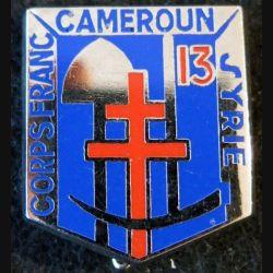 13° BG : insigne métallique du 13° bataillon du génie Corps franc Cameroun Syrie de fabrication Ballard retirage