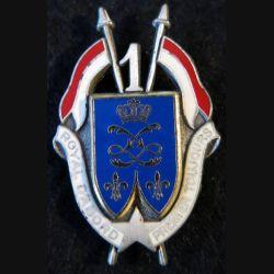 1° RD : insigne métallique du 1° régiment de dragons de fabrication Delsart G. 1608