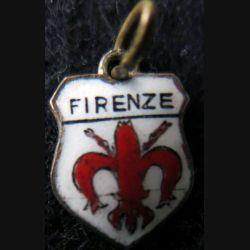 BLASON FIRENZE : Ancien blason en émail de la ville de Firenze 16 x 11 mm avec anneau et maillon