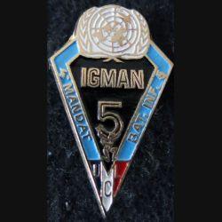 FORPRONU : insigne métallique de l'UCL du BATINF 5 FORPRONU Igman 4° mandat local
