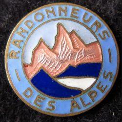 ALPES : insigne métallique des randonneurs des alpes sans attache en émail