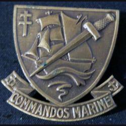 INSIGNE DE BÉRET : insigne de béret des commandos Marine fabrication Drago deux épingles