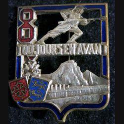 8° RI : insigne métallique du 8° régiment d'Infanterie de fabrication Drago Béranger déposé  Languedoc émail
