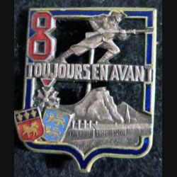 8° RI : insigne métallique du 8° régiment d'Infanterie de fabrication Drago Béranger H. 277  Rouen émail