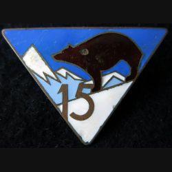 15° RIA : Insigne métallique du 15° régiment d'infanterie alpine de fabrication Arthus Bertrand déposé en émail (éclat)
