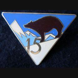 15° RIA : Insigne métallique du 15° régiment d'infanterie alpine de fabrication Arthus Bertrand Paris