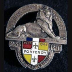 23° RIF : insigne du 23° régiment d'infanterie de forteresse Arthus Bertrand déposé émail translucide Fontenoy 1658 1745