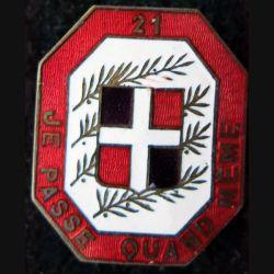21° RI : 21° régiment d'infanterie de fabrication Moret en émail