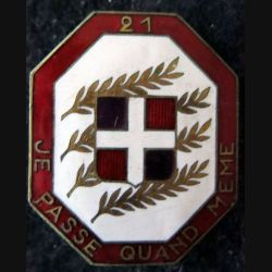 21° RI : 21° régiment d'infanterie de fabrication Arthus Bertrand G. 1261 en émail