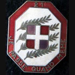 21° RI : 21° régiment d'infanterie de fabrication Arthus Bertrand G. 425 en émail