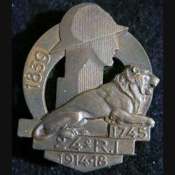 24° RI : 24° régiment d'infanterie 1745 1939 de fabrication Arthus Bertrand poinçon bronze