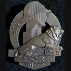 24° RI : 24° régiment d'infanterie 1745 1932 de fabrication Arthus Bertrand poinçon bronze