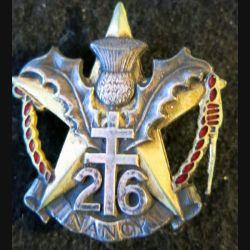 26° RI : Insigne métallique du 26° régiment d'infanterie Drago Romainville déposé H. 279