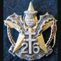 26° RI : Insigne métallique du 26° régiment d'infanterie Drago Romainville déposé H. 279 émail