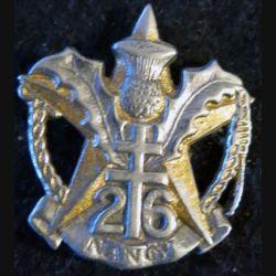 26° RI : Insigne métallique du 26° régiment d'infanterie artisanal  moulage sur Drago