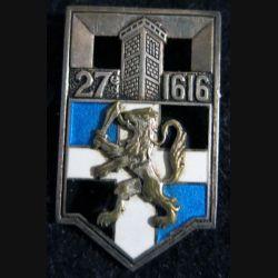 27° RI : insigne métallique du 27° régiment d'infanterie Drago Paris Béranger déposé H. 400 en argent