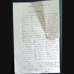 Lettre d'un prêtre à sa cousine en 1935 Finistère Nord