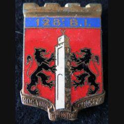 128° RI : insigne du 128° régiment d'infanterie de fabrication Drago Paris G. 1658 en émail