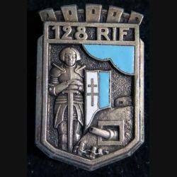 128° RIF : insigne du 128° régiment d'infanterie de forteresse de fabrication Drago Beranger en émail