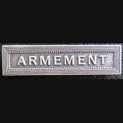 """Barrette """" ARMEMENT """" en métal argenté"""