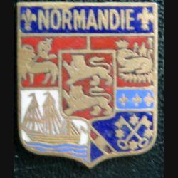 BLASON NORMANDIE : insigne ancien blason en émail de la Normandie 22 x 27 m