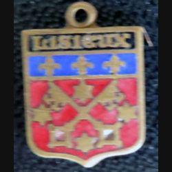 BLASON LISIEUX : Ancien blason en émail de la ville de Lisieux 16 x 11 mm avec anneau