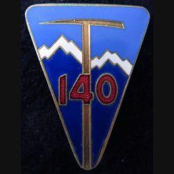 140° RIA : Insigne métallique du 140° régiment  d'infanterie alpine fabrication FIA Lyon R en émail