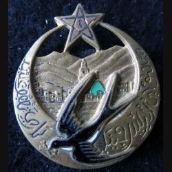 1° RTM : insigne métallique du 1° régiment de tirailleurs marocains type 4  Drago O.M déposé en émail