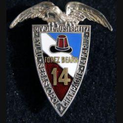 14° RI : Insigne métallique du 14° régiment d'infanterie Forez Béarn Arthus Bertrand Paris en émail