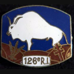126° RI : insigne métallique du 126° régiment d'infanterie de fabrication ABPD en émail