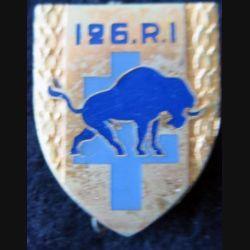 126° RI : insigne métallique du 126° régiment d'infanterie  de fabrication Drago Paris G. 1557 en émail