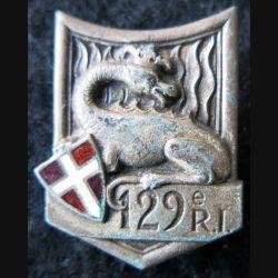 129° RI : Insigne métallique du 129° régiment d'infanterie de fabrication Drago Paris G. 429 en émail