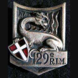 129° RIM : Insigne métallique du 129° régiment d'infanterie motorisé ABP G. 429 quartiers inversés en émail
