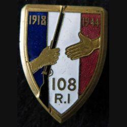 108° RI : 108° régiment d'infanterie  Courtois Paris en émail