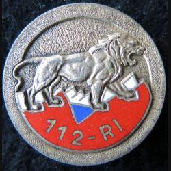112° RI : insigne métallique du 112° régiment d'infanterie de fabrication Drago Paris G. 2759 en émail