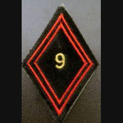 LOSANGE DE BRAS MODÈLE 45 :  9° régiment du génie cadre sur scratch