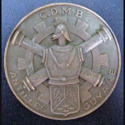 CDMB : plaque du CDMB Antilles Guyane en métal (bronze ?) de diamètre 74 mm