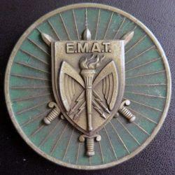 EMAT : plaque de l'Etat Major de l'armée de terre de diamètre 7 cm en métal doré de fabrication Delsart