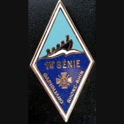 1° RG : insigne métallique du 1° régiment du génie de fabrication Drago Noisiel H. 209