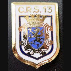 CRS 13 : insigne de la compagnie républicaine de sécurité n° 13 fabrication JMM Destrée 96