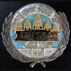 1° REC : Béret 1° régiment étranger de cavalerie UNTAC Cambodge Aixia en ARGENT éclat d'émail