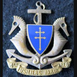 1° RFM 1° DFL : insigne métallique du 1° régiment de fusiliers marins 1° DFL en émail (modèle Hermès) embouti