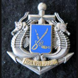 FUSILIERS MARINS : insigne béret des fusiliers marins de fabrication Balme Saumur 2 épingles