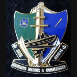 BASE MARINE FMC : insigne de béret de la Base Marine Fusiliers Marins et Commandos en relief