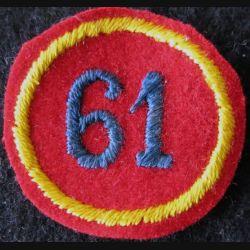 61° RA : insigne tissu de calot du 61° régiment d'Artillerie