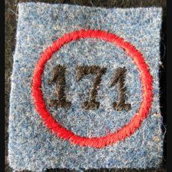 171° RI : insigne tissu de calot du 171° régiment d'infanterie en feutre bleu horizon